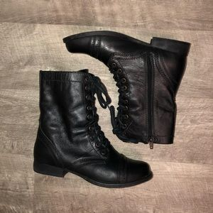 Black Leather Troopa Boots